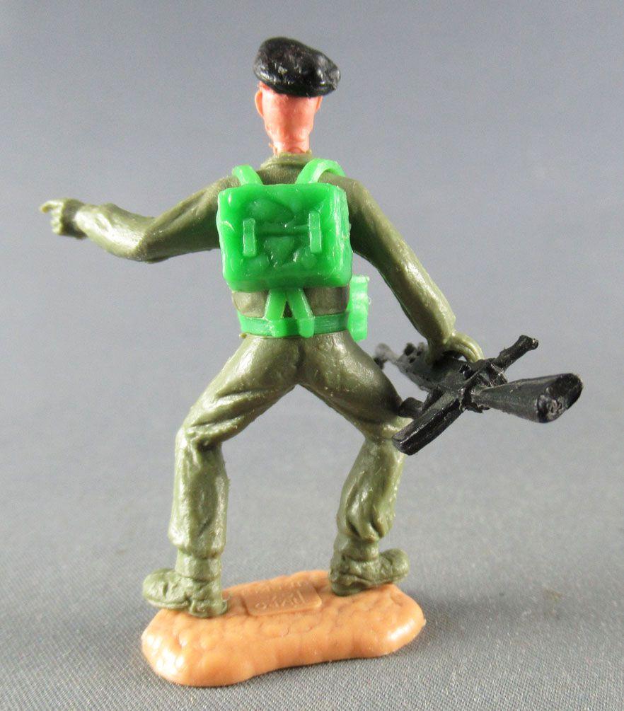 Timpo - WW2 - Anglais (Blindés Béret Noir) - 1ère série - Pointant & Bren gun  jambes pliées écartées