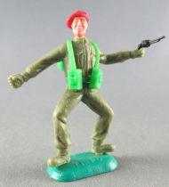 Timpo - WW2 - Anglais (Paras Béret Rouge) - 1ère série - Lanceur grenade (revolver) jambes pliées écartées