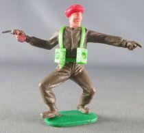 Timpo - WW2 - Anglais (Paras Béret Rouge) - 1ère série - Pointant du doigt (révolver) jambes pliées écartées