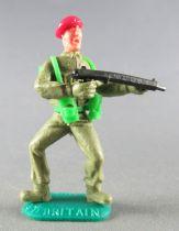Timpo - WW2 - Anglais (Paras Béret Rouge) - 1ère série - Tireur mitraillette jambes pliées écartées