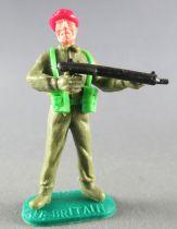 Timpo - WW2 - British (Airborne Red Beret) - 1st series - Firing sten gun standing legs