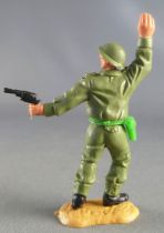 Timpo - WW2 - British Infantry - 2nd series - Right Arm Up Pistol leaning to the right legs