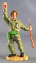 Timpo - WW2 - British Infantry - 2nd series - Right Arm Up Rifle leaning to the right legs