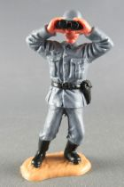 Timpo - WW2 - Germans - 2nd series (one piece head helmet) - Officer (binoculars) leaning to the left legs