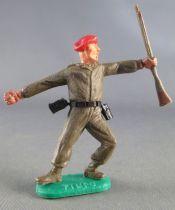 Timpo - WW2 - Soldats Kaki Béret Rouge - Grenade & fusil les 2 jambes penchées vers la gauche