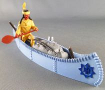 Timpo Indians 4th series (1 piece head - headband 1 feather) Canoe (Cargo Blue) fig. paddle on right yellow shirt yellow pants y