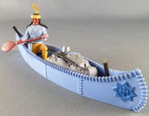 Timpo Indians 4th series (1 piece head - headband 1 feather) Canoe (Cargo Blue) fig. paddle on right blue shirt yellow pants yel