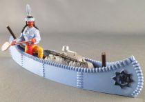 Timpo Indiens 4ème série (tête monobloc - serre tête 1 plume) canoé cargo bleu indien (pagaie à droite) torse bleu pantalon jaun