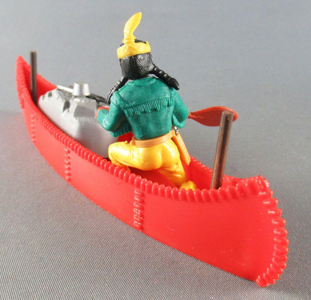 Timpo Indiens 4ème série (tête monobloc - serre tête 1 plume) canoé cargo rouge indien (pagaie à droite) torse vert pantalon jau