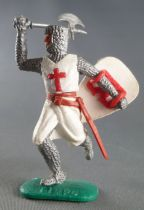 Timpo Middle-Age Crusader 1st serie footed with one arm above head (axe) runing