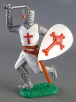 Timpo Middle-Age Crusader 1st serie footed with one arm above head (mace) runing