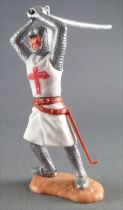 Timpo Middle-Age Crusader 2nd serie footed  with both arms above head leaning to the right legs