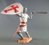 Timpo Middle-Age Crusader 2nd serie footed attacking right arm & shield raised (axe) bent legs