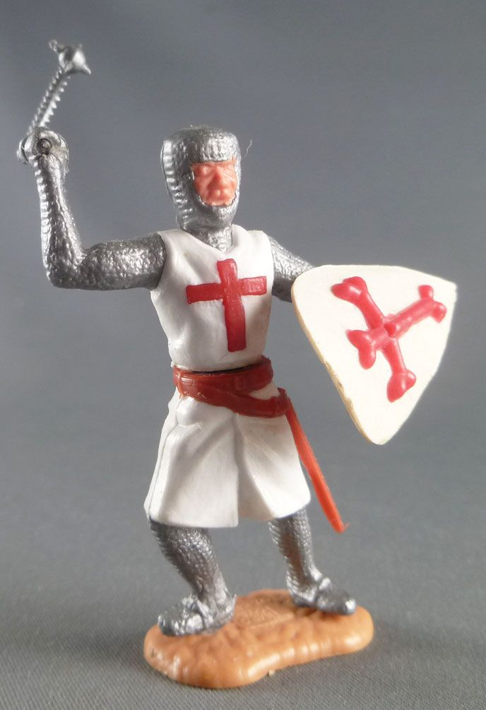 Timpo Middle-Age Crusader 2nd serie footed attacking right arm raised (mace) leaning to the right legs
