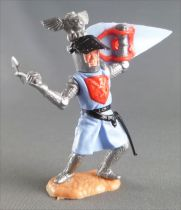 Timpo Middle-Age Great Helm Knight footed light blue & red (axe, black visor) bent legs