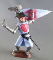 Timpo Middle-Age Great Helm Knight footed light blue & red (sword, black visor) bended legs