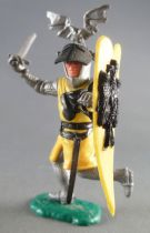 Timpo Middle-Age Great Helm Knight footed yellow & black (sword, black visor) running legs