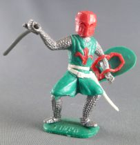 Timpo Middle-Age Medieval Knights footed green and red helmet one arm outstrectched (sword) bent legs