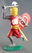 Timpo Middle-Age Medieval Knights footed red (white rose) and yellow helmet right arm up (axe) running legs