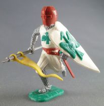 Timpo Middle-Age Medieval Knights footed white and brown helmet both arms down (standart) running legs