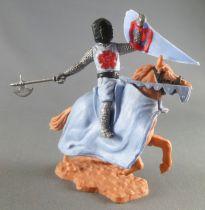 Timpo Moyen-Age chevaliers médievaux cavalier bleu ciel hache cheval baie cabré caparaçon bleu