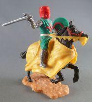 Timpo Moyen-Age chevaliers médievaux cavalier vert épée cheval noir cabré caparaçon jaune