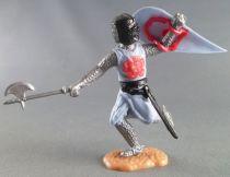 Timpo Moyen-Age chevaliers médievaux piéton bleu ciel casque noir hache jambes courantes