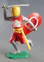 Timpo Moyen-Age chevaliers médievaux piéton rouge (fleur blanche) casque jaune épée jambes courantes