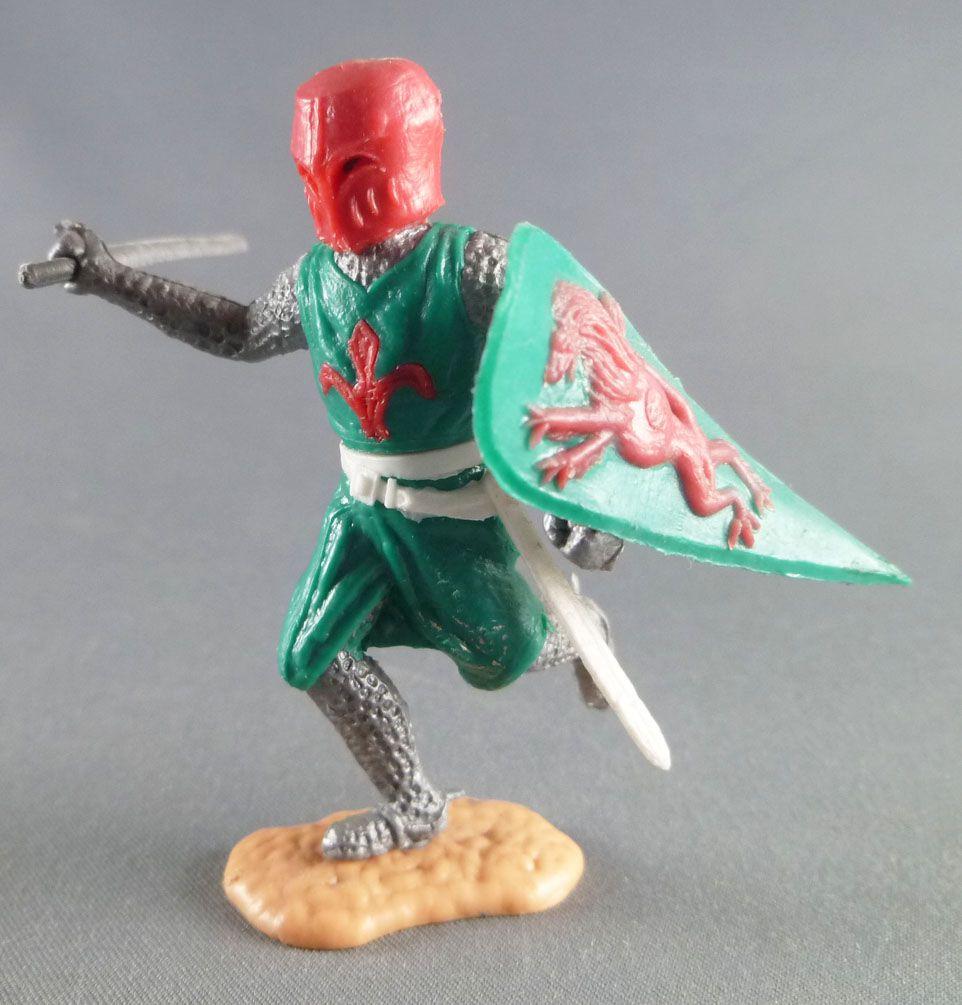 Timpo Moyen-Age chevaliers médievaux piéton vert casque rouge épée jambes courantes