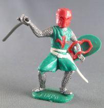 Timpo Moyen-Age chevaliers médievaux piéton vert casque rouge épée jambes pliées