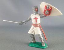 Timpo Moyen-Age Croisé 1ère série piéton bouclier levé (grande épée) jambes penchées vers la droite
