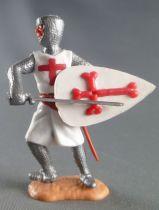 Timpo Moyen-Age Croisé 2ème série piéton épée devant lui jambes penchées vers la droite