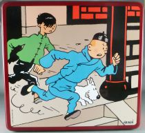 Tintin - Delacre Tin Cookie Box (Square) - The Blue Lotus Tintin & Chang