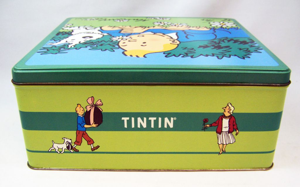 Tintin - Delacre Tin Cookie Box (Square) - Tintin and Snowy in Spring #2
