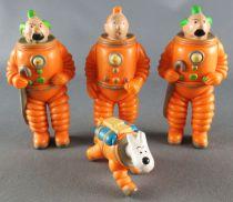 Tintin - Figurine pvc LU (1993) - Tintin + Milou + Dupont + Dupond sur la Lune