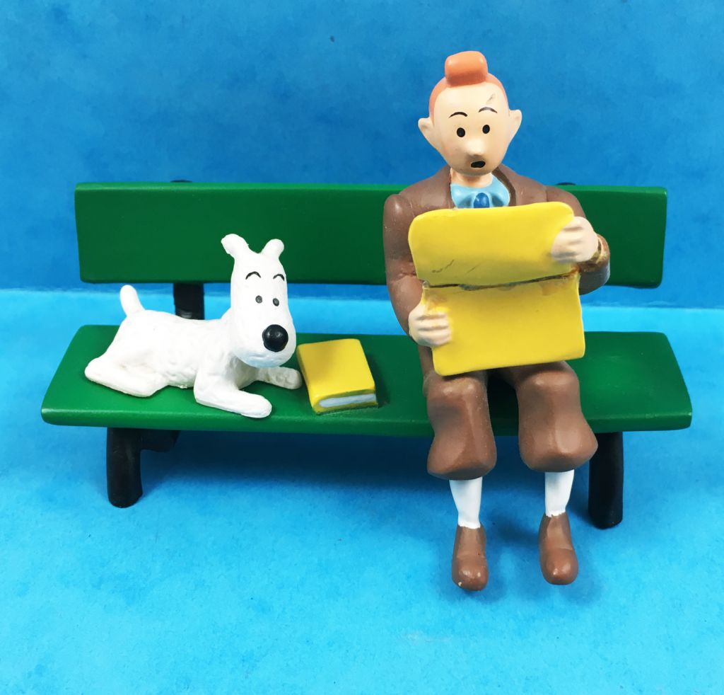 Tintin - Figurine Résine Moulinsart - Tintin et Milou sur un banc