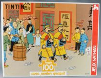 Tintin - Nathan 100 Pieces Puzzle - The Blue Lotus Thomson and Thompson in Tibet with Poster