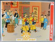 Tintin - Puzzle Nathan 100 Pièces  - Le Lotus Bleu Les Dupond & Dupont au Tibet avec Poster