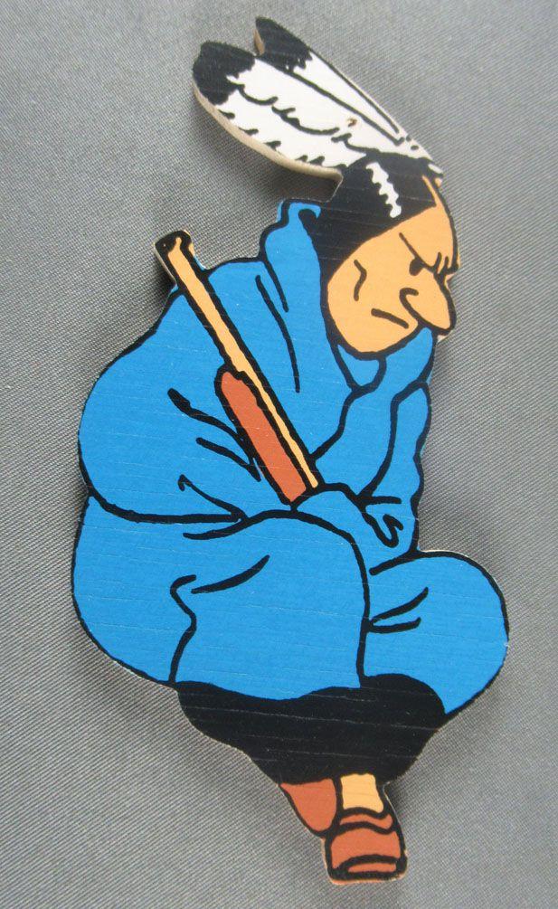 Tintin - Silhouette Bois Double Face Trousselier - Indien à suspendre