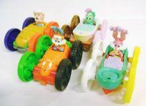 Tiny Toons - McDonald\'s Premium - Set of 4 vehicles (Buster Bunny/Elmira, Babs Bunny/Plucky Duck, Dizzy Devil/Hamton, Gogo Dodo
