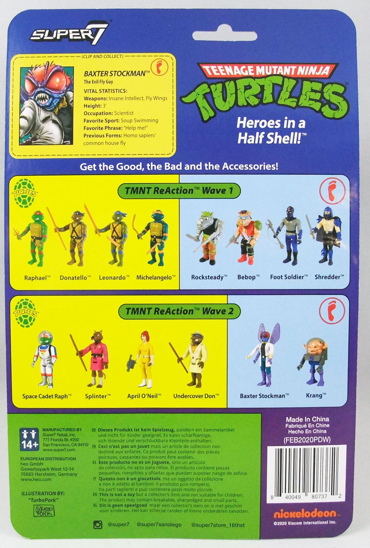 TMNT Tortues Ninja - Super7 ReAction Figures - Baxter Stockman