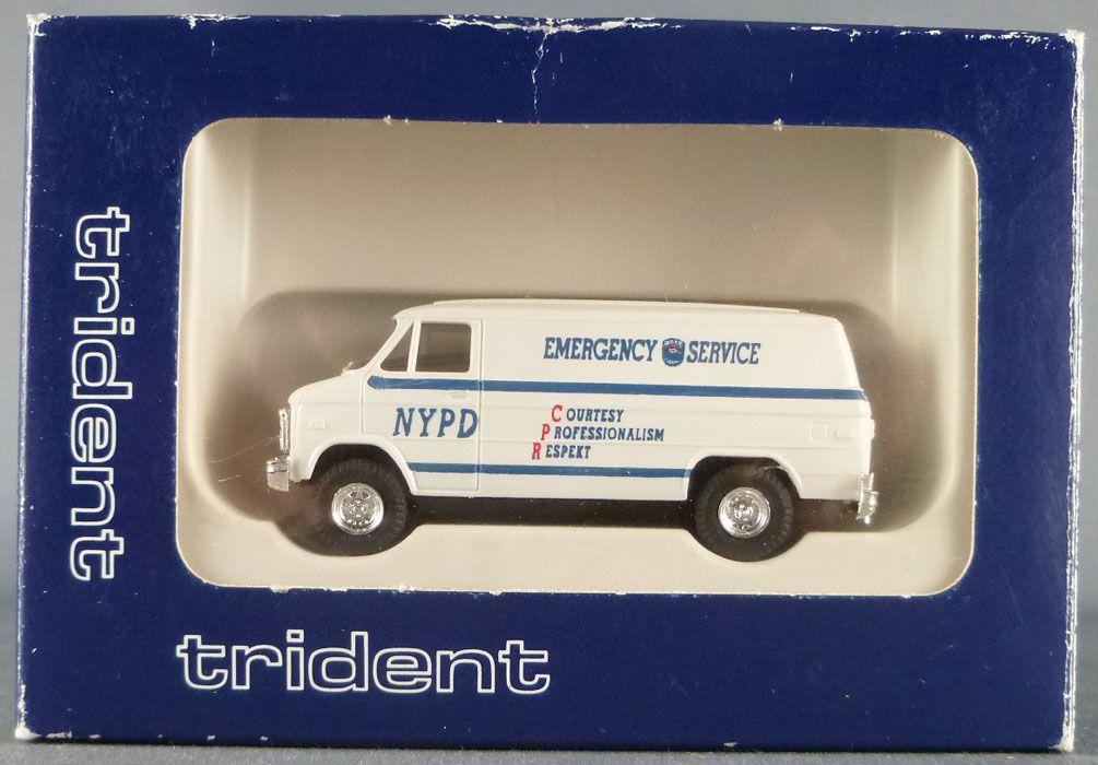 Trident 90240 Ho 1/87 Van Chevrolet New York Urgence NYPD Emergency Service Neuf Boite
