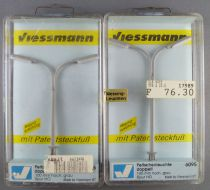 Viessmann 6095 Ho Sncf 2 Lampadaires Modernes Double en Métal avec Ampoules Neuf Boite