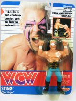 "WCW Galoob - Sting ""The Stinger\"" with black boots (Spain card)"