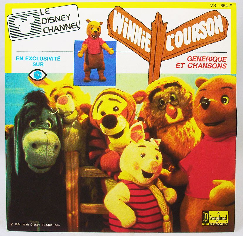 Winnie the Pooh - Mini Vinyl Record - French TV series theme - Ades Records 1985