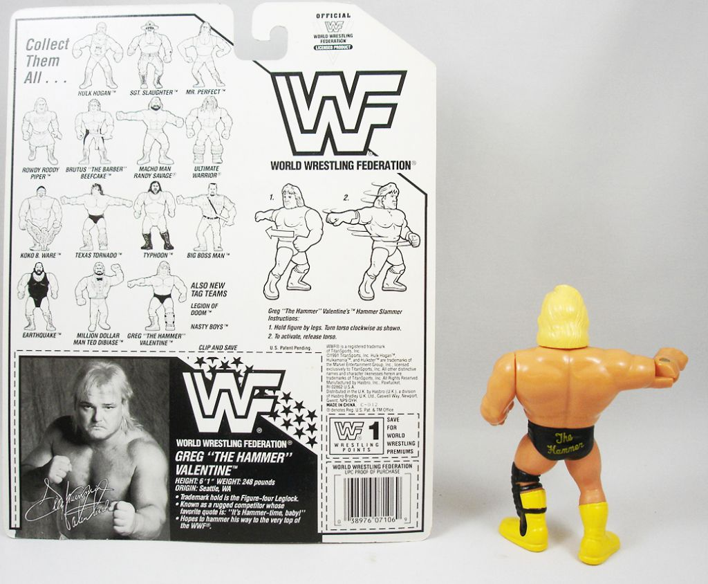 WWF Hasbro - Greg The Hammer Valentine (loose avec carte USA)