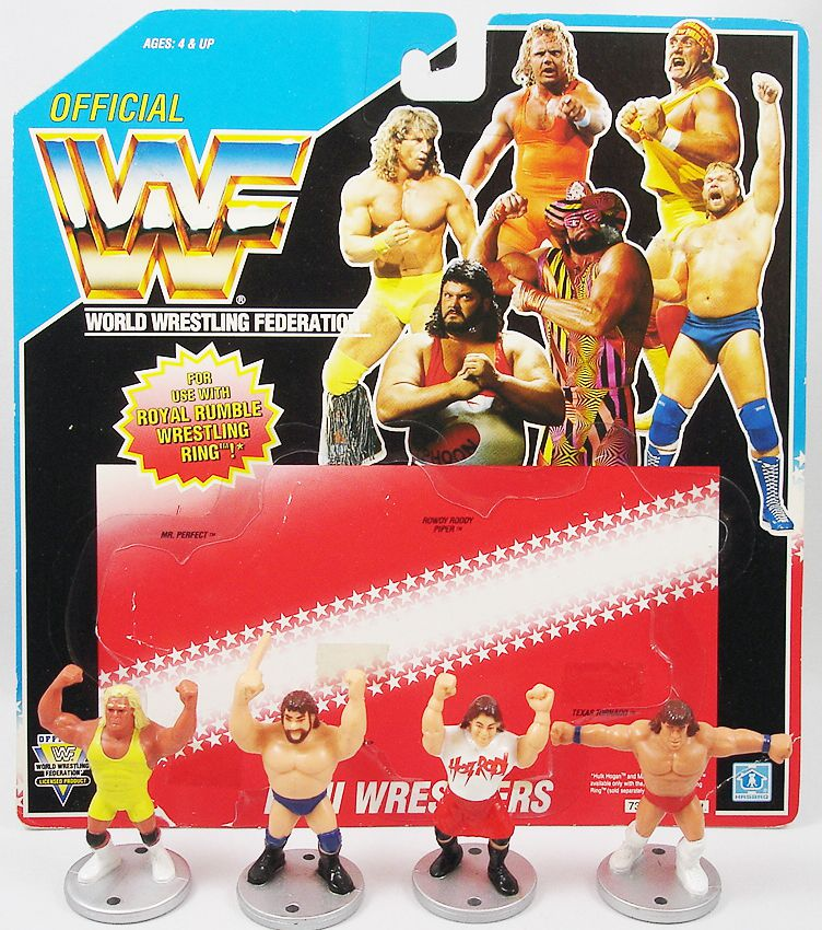WWF Hasbro - Mini Wrestlers : Rowdy Roddy Piper, Hacksaw Jim Duggan, Mr. Perfect, Texas Tornado (loose with USA cardback)