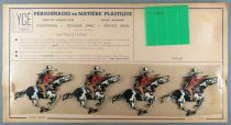 Ycé Paris - Mint Plate of 4 Rhodoid Figures to Cut - Mounted Cow-Boys
