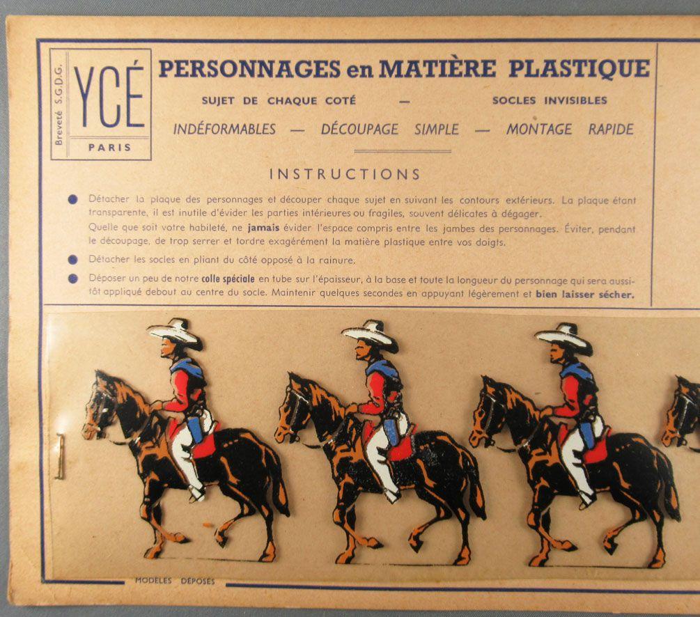 Ycé Paris - Mint Plate of 5 Rhodoid Figures to Cut - Mounted Cow-Boys