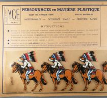 Ycé Paris - Mint Plate of 5 Rhodoid Figures to Cut - Mounted Indians